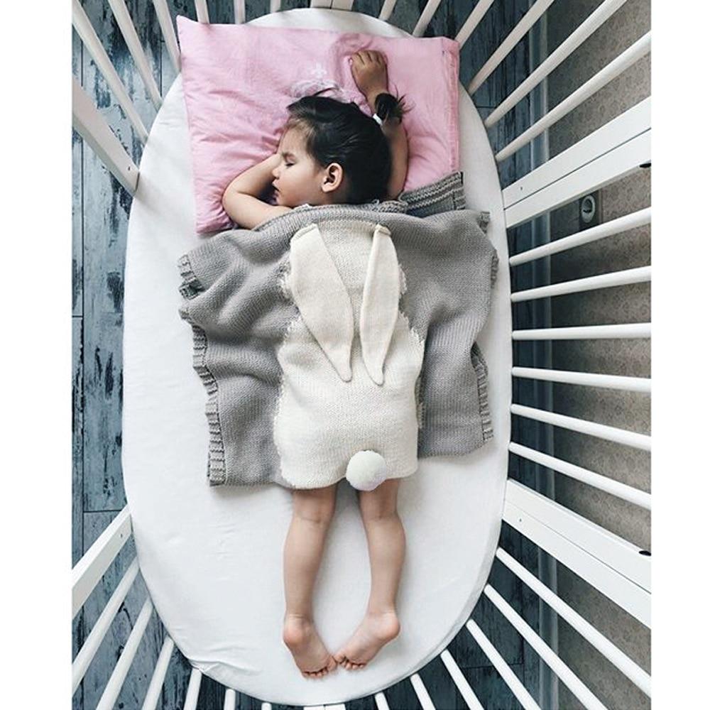 Baby Blankets Rabbit Crochet Newborn Knitted Bunny Blanket Kids Bedding Cover Girls Photo Props 105*75 cm Swaddle Bath Towel
