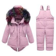 Snowsuit Children Clothing Set 90% White Duck Down Jacket+Jumpsuit Sets Winter Suits For Girls Kids Ski Suit Winter Overalls Y23