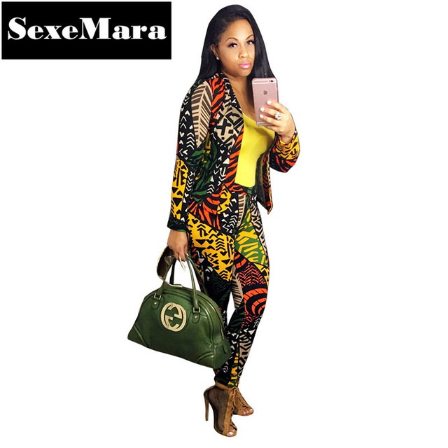 Fashion Digital Print Ladies Pants and Blazer Set Casual Women Suits 2016 Winter Clothing Sets Women 2 Piece Outfit Sets D41AE96
