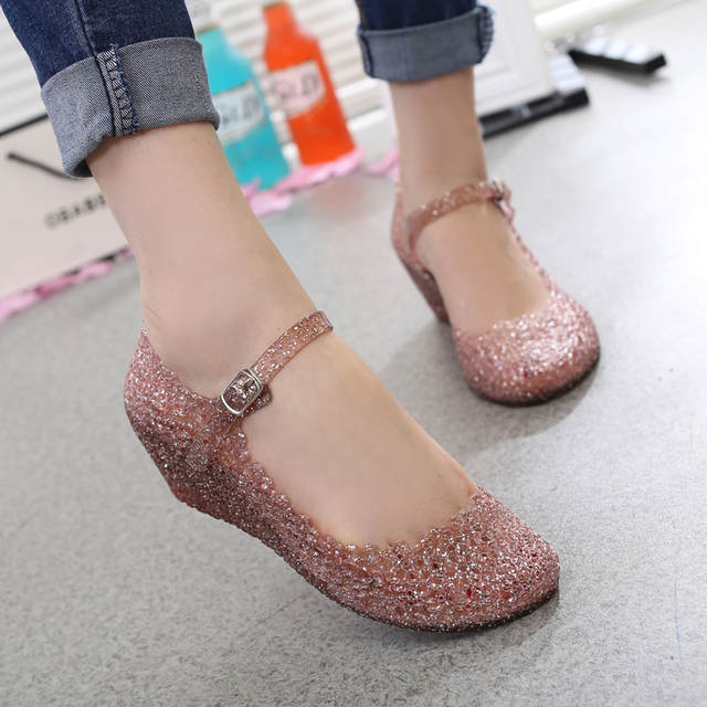 1465a792fa934 Vogue! Nice Summer Style Summer Shoes Woman Wedges Sandals High Heels Women  Summer Shoes Glass Slipper Jelly Shoe Fashion