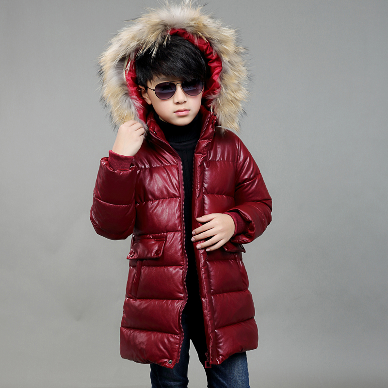 2017 New Girls Boys Winter Warm PU Down Jackets Kids Fur Hooded Casual Children Snow Outerwear Faux Leather Winter Long Coats
