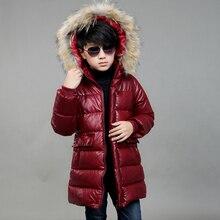 2017 New Girls Boys Winter Warm PU Down Jackets Kids Fur Hooded Casual Children Snow Outerwear Faux Leather Winter Long Coats
