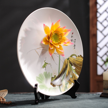 The new Chinese Zen ornaments entrance ceramic decoration hanging lotus seat disc shelf creative arts and crafts