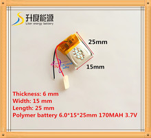 Size 601525 3.7V 170mah Lithium polymer Battery with Protection Board For MP3 MP4 MP5 GPS Digital Products Free Shipping