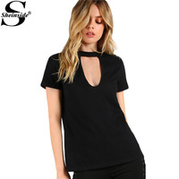 Sheinside Cutout V Keyhole T-shirts Black Slub Tee Sexy Women Short Sleeve Casual Tops 2017 Fashion Slim Elegant Summer T-shirt