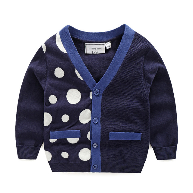 2017 New Arrive Autumn Children's Sweater Boy's Cardigan Sweater V Collar Dot Spliced Kids Casual Clothes Ninos Ropa De Ninas