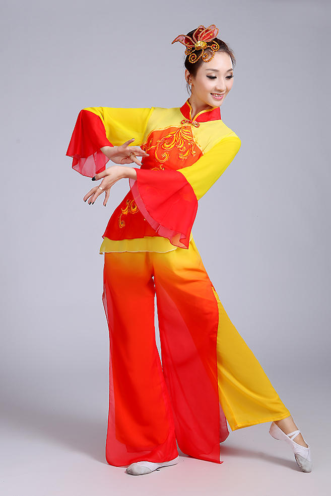 4de703e5b5c2 Yellow red Chinese Folk Dance Costumes Fan Yangko Dance Performances ...