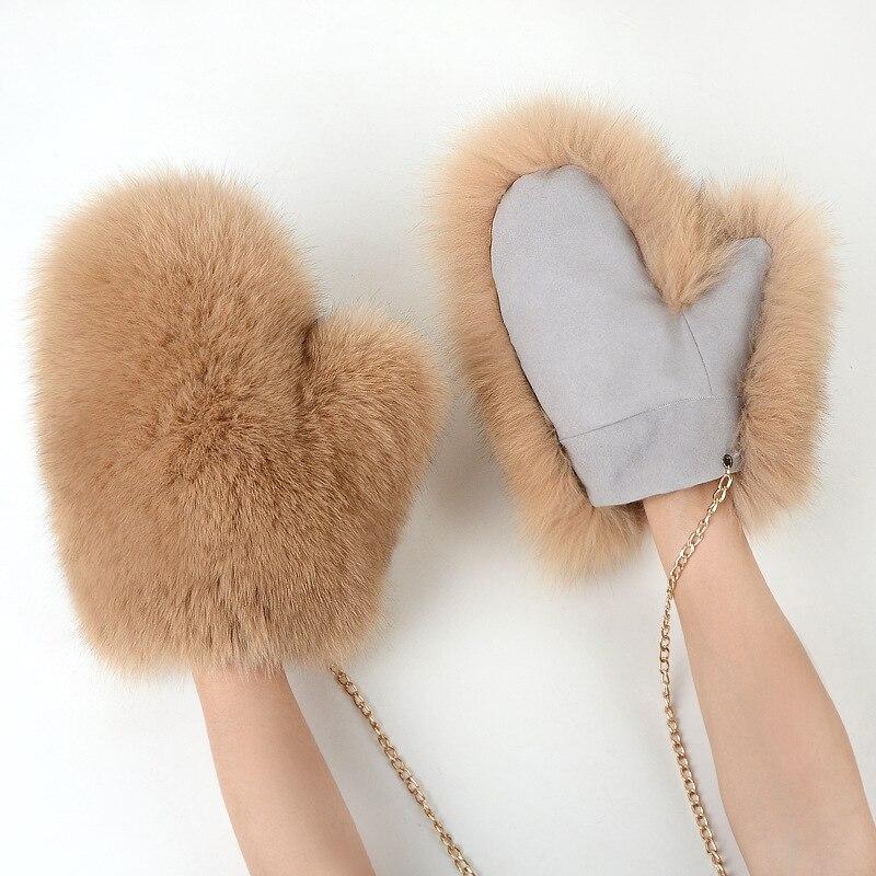 0121241 luxe dames naturel fourrure de renard gant véritable fourrure en cuir chaud belle mitaines hiver femmes gants sans doigts fourrure gant