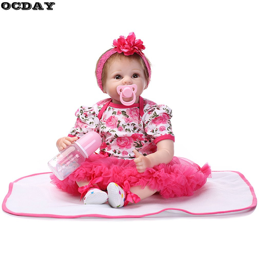 OCDAY 55cm Soft Full Silicone Realistic Reborn Baby Dolls Toys Lifelike Newborn Doll Girl Birthday New Year Gift New Hot Sale hot sale 2016 npk 22 inch reborn baby doll lovely soft silicone newborn girl dolls as birthday christmas gifts free pacifier