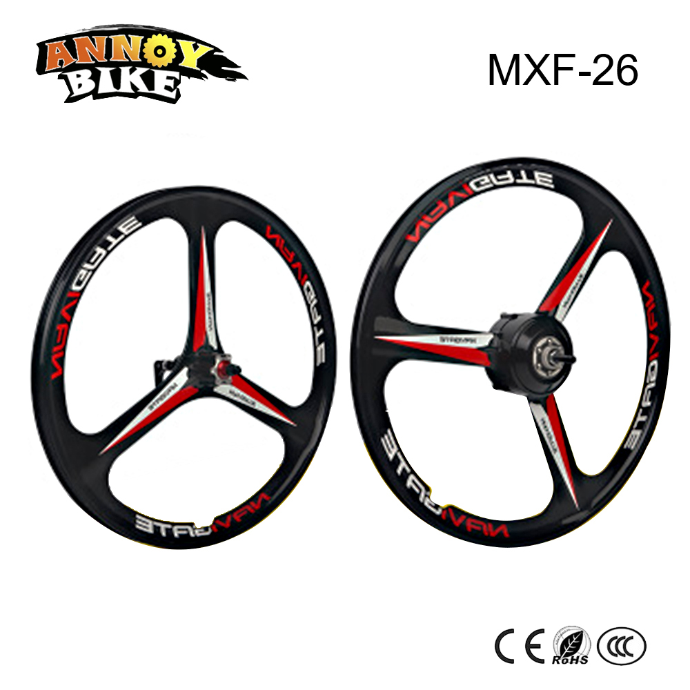 26'' Brushless Motor and Front Wheel 250W 26V/36V/48V Magnesium Alloy Wheel Black and White Suitable for Electric Bike