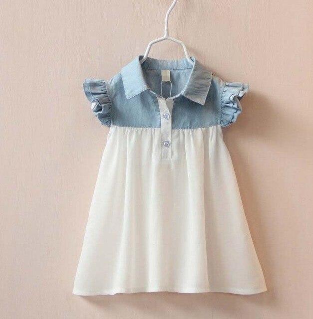 2016 New Baby Girl Clothes Chiffon Patchwork Girl Denim Dresses Cute