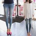 Mezclilla de maternidad del vientre lápiz pantalones vaqueros elegantes pantalones embarazadas pantalones flacos para mujeres embarazadas 2016 nueva moda tallas grandes 2XL