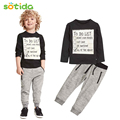 Baby boy clothes 2016 New Spring and Autumn Dark Grey long sleeve t-shirt + casual long pants 2pc suit kids clothes
