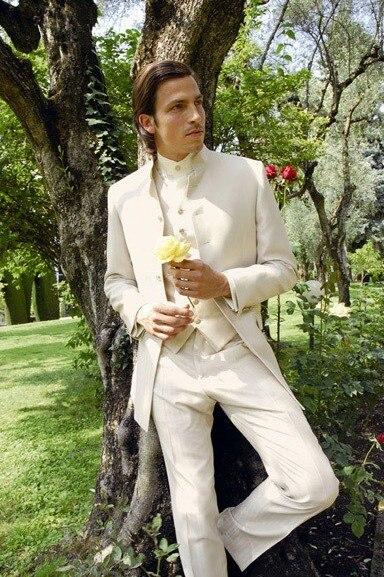 Ivory Stand Collar Groom Tuxedos Slim Groomsmen Men's Wedding Prom Suits (Jacket+Pants+Vest+Tie) NO:078