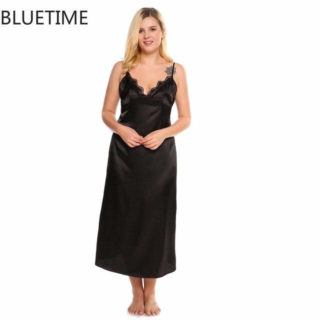cd6146ab55 BLUETIME Plus Size 3XL Summer Long Women S Nightgowns Sexy Lace Trim Satin  Maxi Home Sleeping Dress Nightdress Nightwear A7