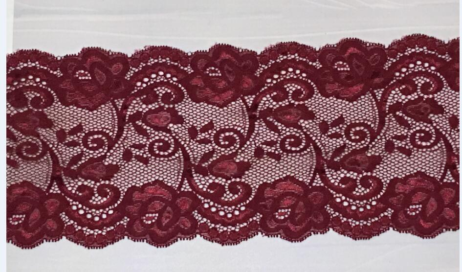 2yards Lot 14cm Wide Red Wine Burgundy Floral Style