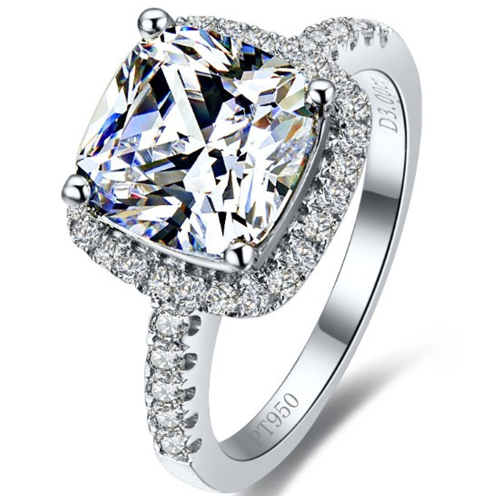 Threeman 3 Carat Excellent Cushion Cut Clear Nscd Synthetic Diamonds Ring  Engagement Women 925 Sterling Silver White Gold Color