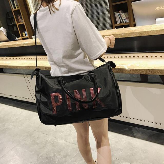2018 Wobag Ladies Black Travel Bag Pink Sequins Shoulder Bag Women Handbag Ladies Weekend Portable Duffel Bag Waterproof Wash