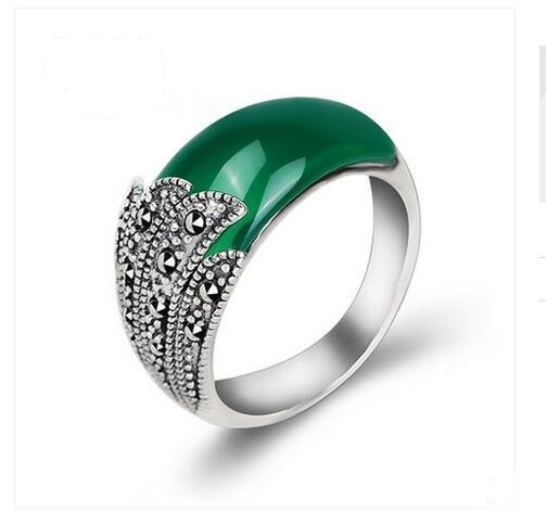 Silver 925 silver jewelry finger ring royal vintage thai silver LAOYINJIANG Women natural green agate ring