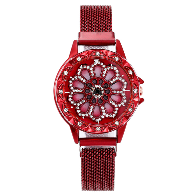 360 Degree Rotation Women Mesh Magnet Buckle Starry Sky Watch Luxury Fashion Ladies Geometric Quartz Watch Relogio Feminino 5