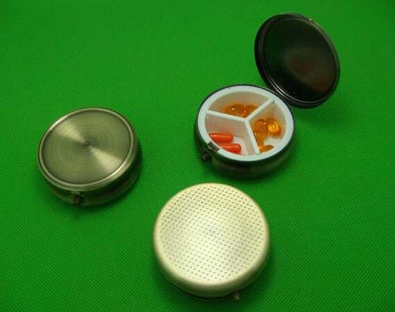100pcs 50mm Blank Pill Box Pill Case Ring Box Or Pick Box DIY Pill Box Steampunk Cameo Bronze Tone 3 Compartment