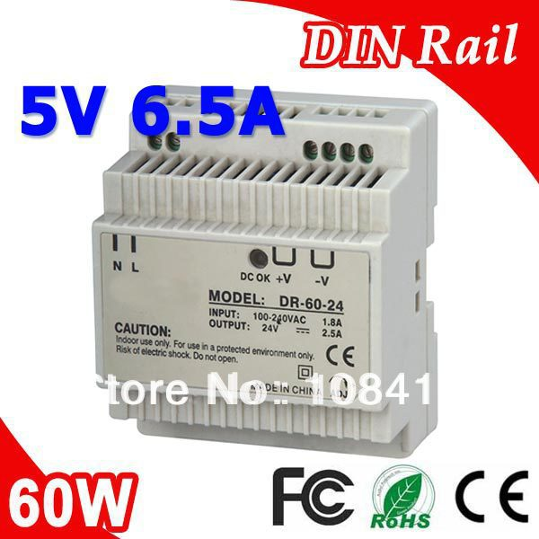 DR-60-5 LED Din Rail mount Switching Power Supply Transformer DC 5V 6.5A Output SMPS ac dc dr 60 5v 60w 5vdc switching power supply din rail for led light free shipping