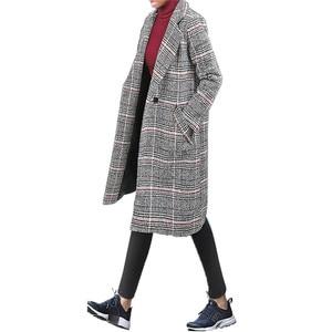 Image 2 - Hodisytian Cardigan Long et épais, mélange de laine à carreaux pour femmes, manteau en cachemire, grande taille 4XL, mode hiver décontracté coton