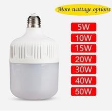 โคมไฟLED E27 B22 50WหลอดไฟLEDสีขาวAC165 265vไฟLEDเน้นความสว่างSpotlight Save Lampadaตารางโคมไฟ