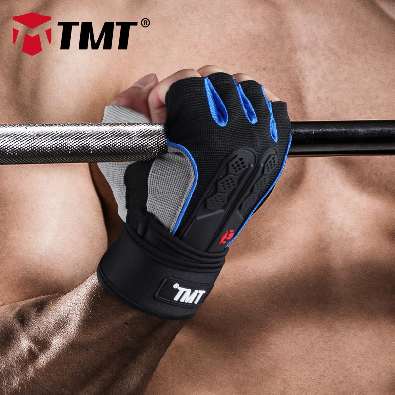 TMT Gym gloves fitness gloves Silicone Antislip Breathable weight lifting sports training gloves Lengthened bandage Dumbbell