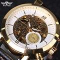 2016 Nova Ouro Branco Antique Steampunk Esqueleto relógio de Pulso de Couro Genuíno dos homens Casuais Relógios Mecânicos Automáticos de Esqueleto Dos Homens
