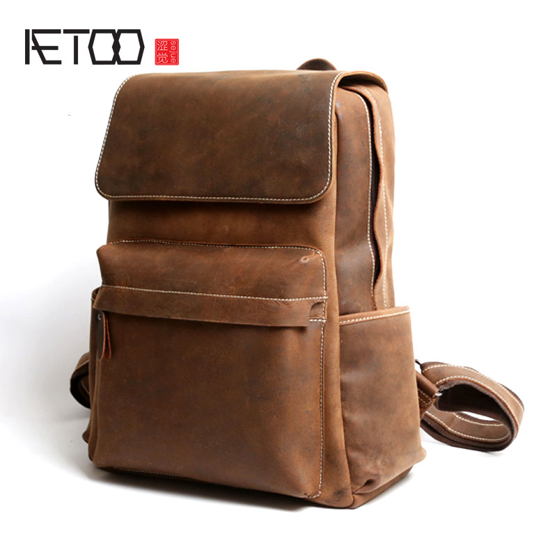 AETOO Retro leather shoulder bag male mad horse leather big backpack street leisure first layer leather computer bag цена