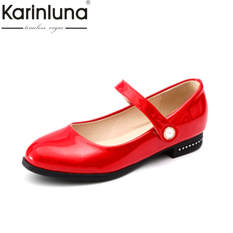 Karinluna Women's Mary Jane Belt Strap Patent Upper Flats Chunky Heels White Black Red Spring Shoes Woman Size 30-40 mary jane sterling u can algebra i for dummies