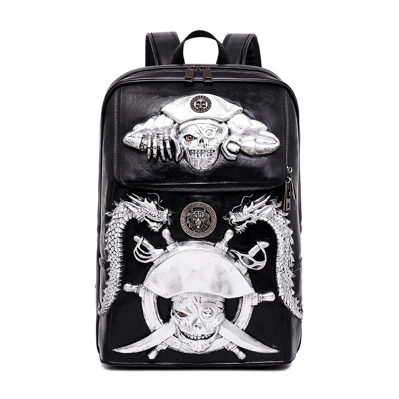 2018 Men Backpack 3D Pirate Skeleton Emboss Shoulder Bag Travel Backpack Restore Halloween Cool Leather tassels Bags 1.8KG2018 Men Backpack 3D Pirate Skeleton Emboss Shoulder Bag Travel Backpack Restore Halloween Cool Leather tassels Bags 1.8KG