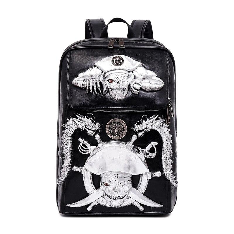 2018 hommes sac à dos 3D Pirate squelette en relief sac à bandoulière voyage sac à dos restaurer Halloween Cool en cuir glands sacs 1.8 KG