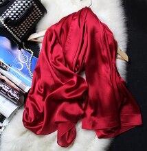משי צעיף נשים 100% טבעי משי כורכת צעיפי צעיפי 180*90cm Hijabs Solider צבעים חוף כיסוי למעלה
