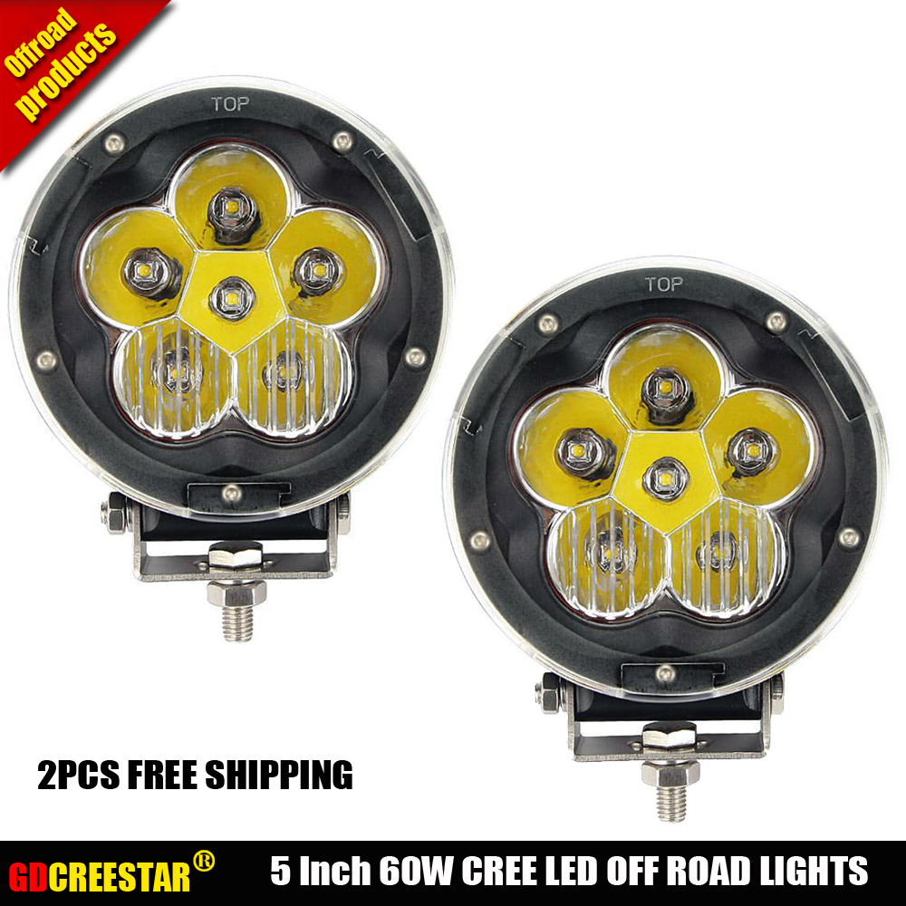 Us 149 0 2pcs 5inch 60w Round Led Fog Lights Spot Black Red Off Road Led Lights Headlight 6blubs 4x4 4wd Truck Combo Cover Free Shipping In Car
