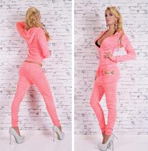 Hot Sale Hooded Long sleeve font b Women s b font Sets Sport Suit Plus Size