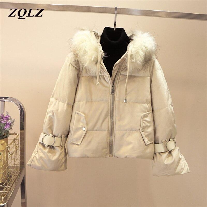 Zqlz Winter Coat Jacket Women Fur Hooded Parka Mujer Plus Size Black