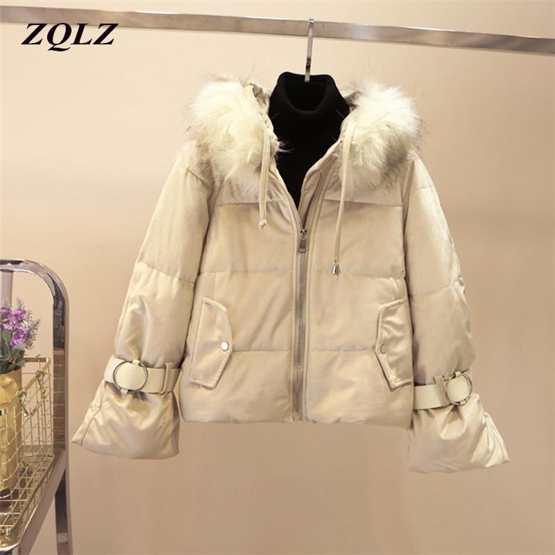 Zqlz Winter Coat Jacket Women Fur Hooded   Parka   Mujer Plus Size Black Padded Jackets Female Thick Velour Cotton Padded   Parkas