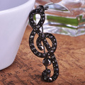 Fashion Steampunk Black Jet Music Note Broches Black Rhinestone Brooches For Gothic Womans Muslim hijab Pins Relogio Masculino