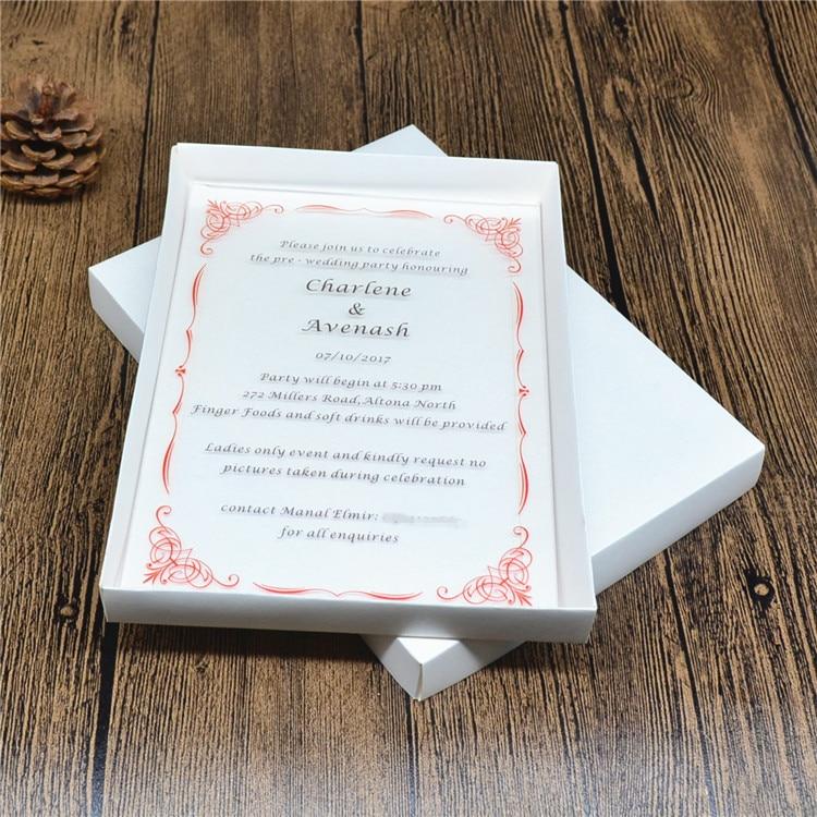 10 Sets Printing Acrylic Wedding Invitations With Laser