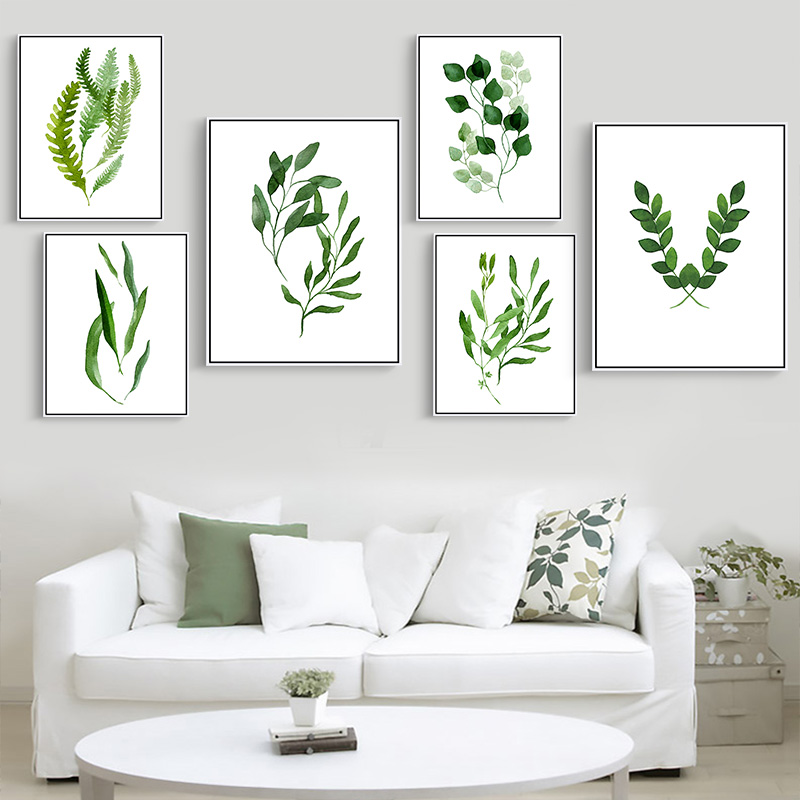 Modern Green Canvas Tropical Plant Leaves Canvas Art Print Poster Wall Pictures For Home Decoration