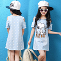 Denim Dress For Girls Cotton Casual Children Dress Girl Striped Patchwork Kids Clothing For Girls Fashion Summer Girls Dresses