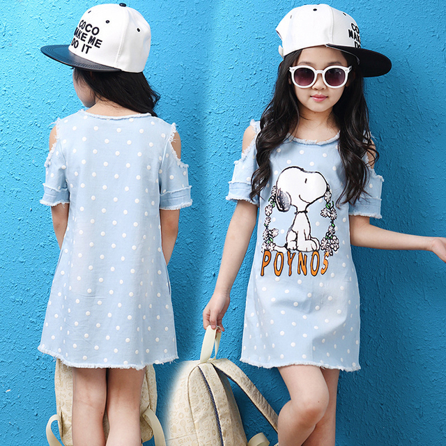 Denim Dress For Girls Cotton Casual Children Dress Girl Striped Patchwork Kids Clothing For Girls Fashion Summer Girls Dresses