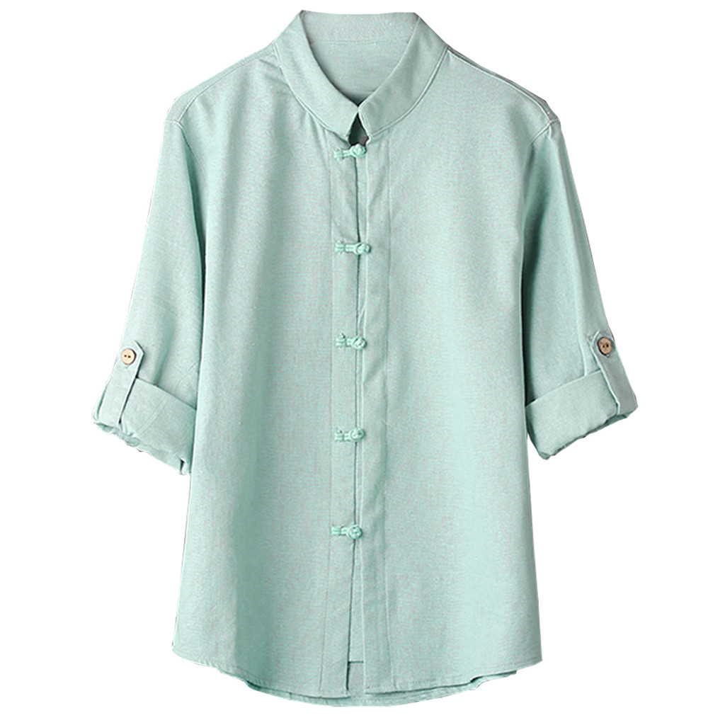 2018 NEW Fashion Hot Men Classic Chinese Style Kung Fu Shirt Tops Tang Suit 3/4 Sleeve linen Blouse high quality comfort c0409