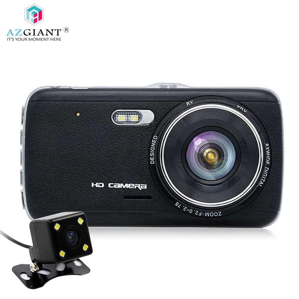 лучшая цена AZGIANT Night Vision Dash Cam Car DVR Camera Dual Lens IPS 4.0