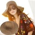 Moda Strawhat Plegable Sombrero de Ala Grande Sunbonnet Casquillo de la Playa Plegable Hecho A Mano Casquillo de la Playa Del Sombrero de Las Mujeres