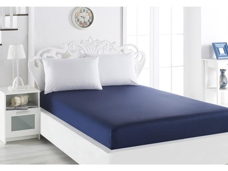Bed Sheet with elastic band KARNA, LOFT, 240*260 cm, dark blue [available with 10 11] skirt bezko psu 3001 dark blue