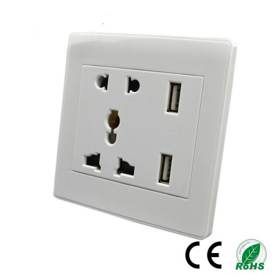Double Wall 13A Socket Plug Power Outlet 2 Gang 2 USB Port Electrical Plate