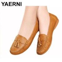 YAERNI New Fashion Tassels Soft Bottom Women Flats Shoes Elderly Flat Work Shoes Comfortable Woman Shoes